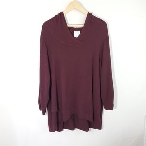 Sunday Woman's Plus Size Maroon Hooded Top 2X